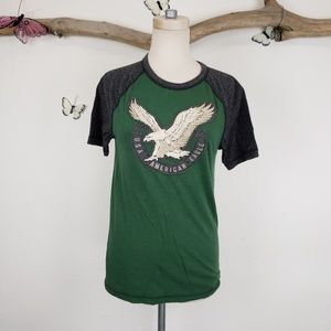 American eagle outfitters distressed raglan tee